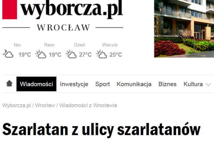 11.12.2009 Gazeta Wyborcza Szarlatan z Ulicy Szarlatanów