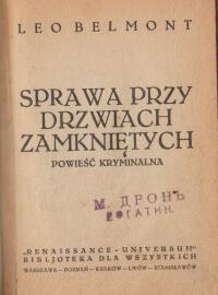 Sprawa przy drzwiach zamknietych  Antykwariat Szarlatan Wroclaw