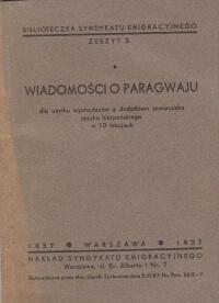 Wiadomosci o Paragwaju Antykwariat Szarlatan Wroclaw