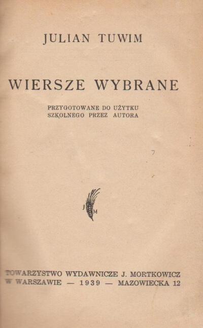 Tuwim Julian Wiersze Wybrane