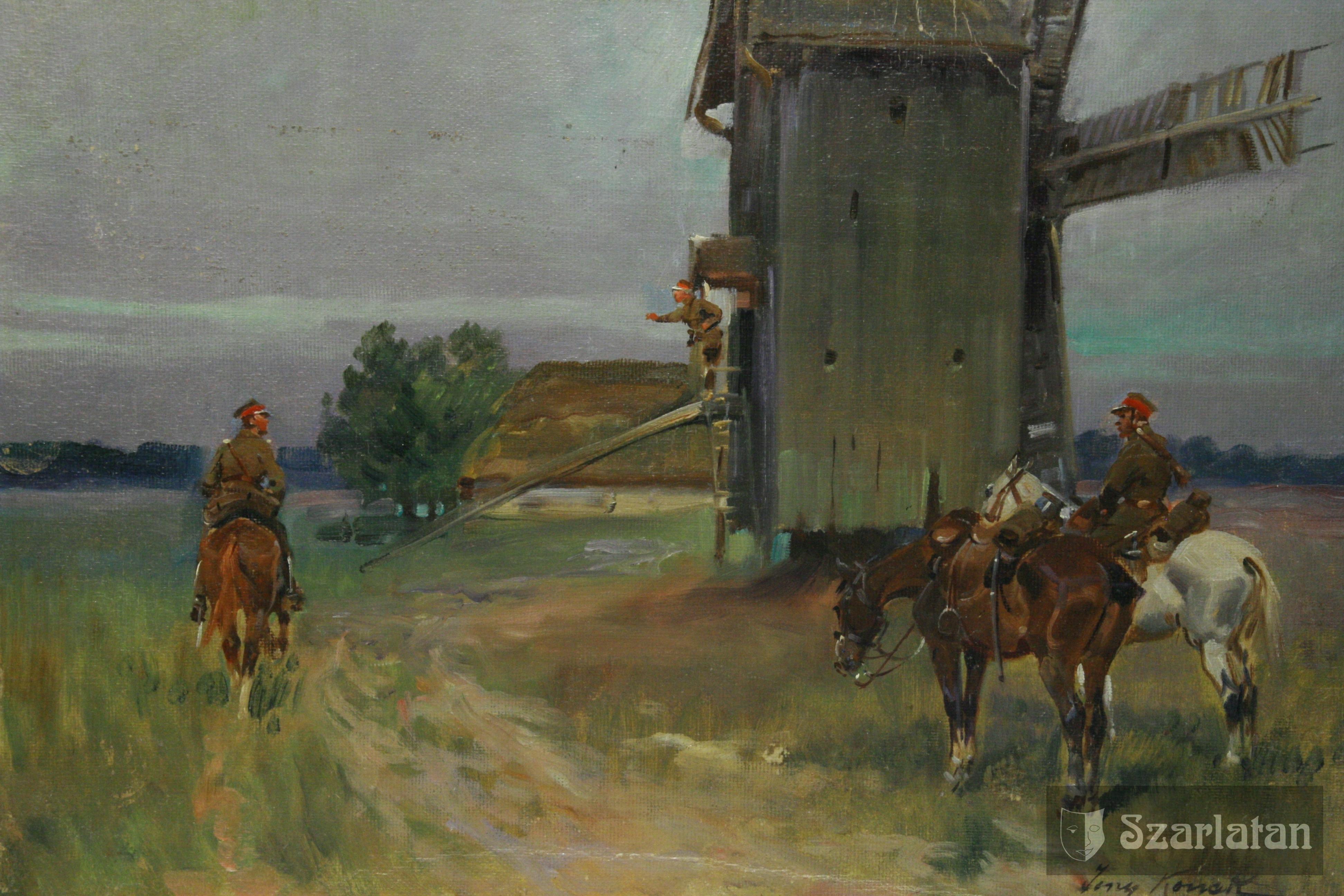 Zwiad przy wiatraku, Jerzy Kossak (1886 -1955),