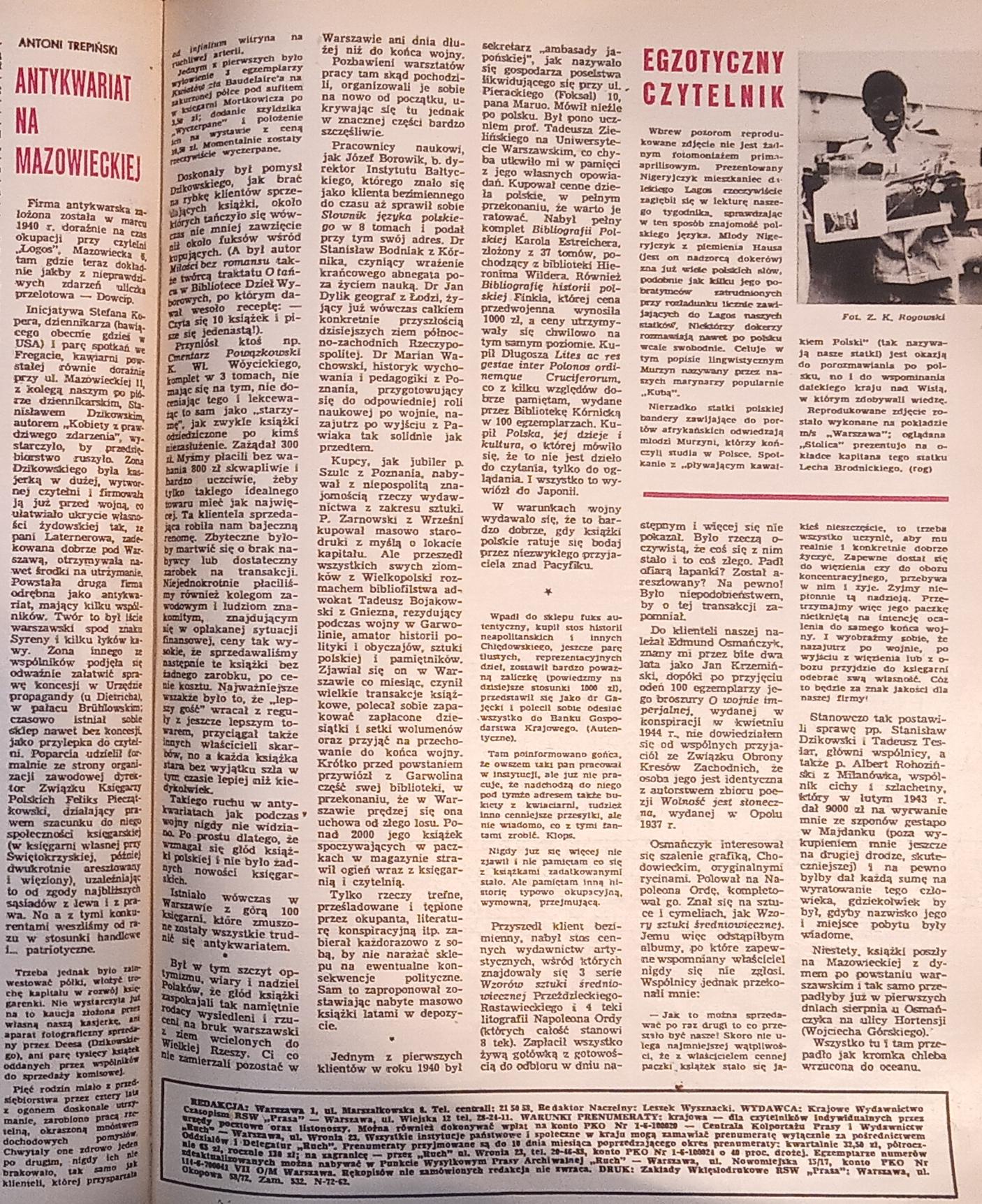 Antykwaryczna karta Stolicy z 1968r.
